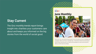 Givz monthly newsletter shows the impact of your donations