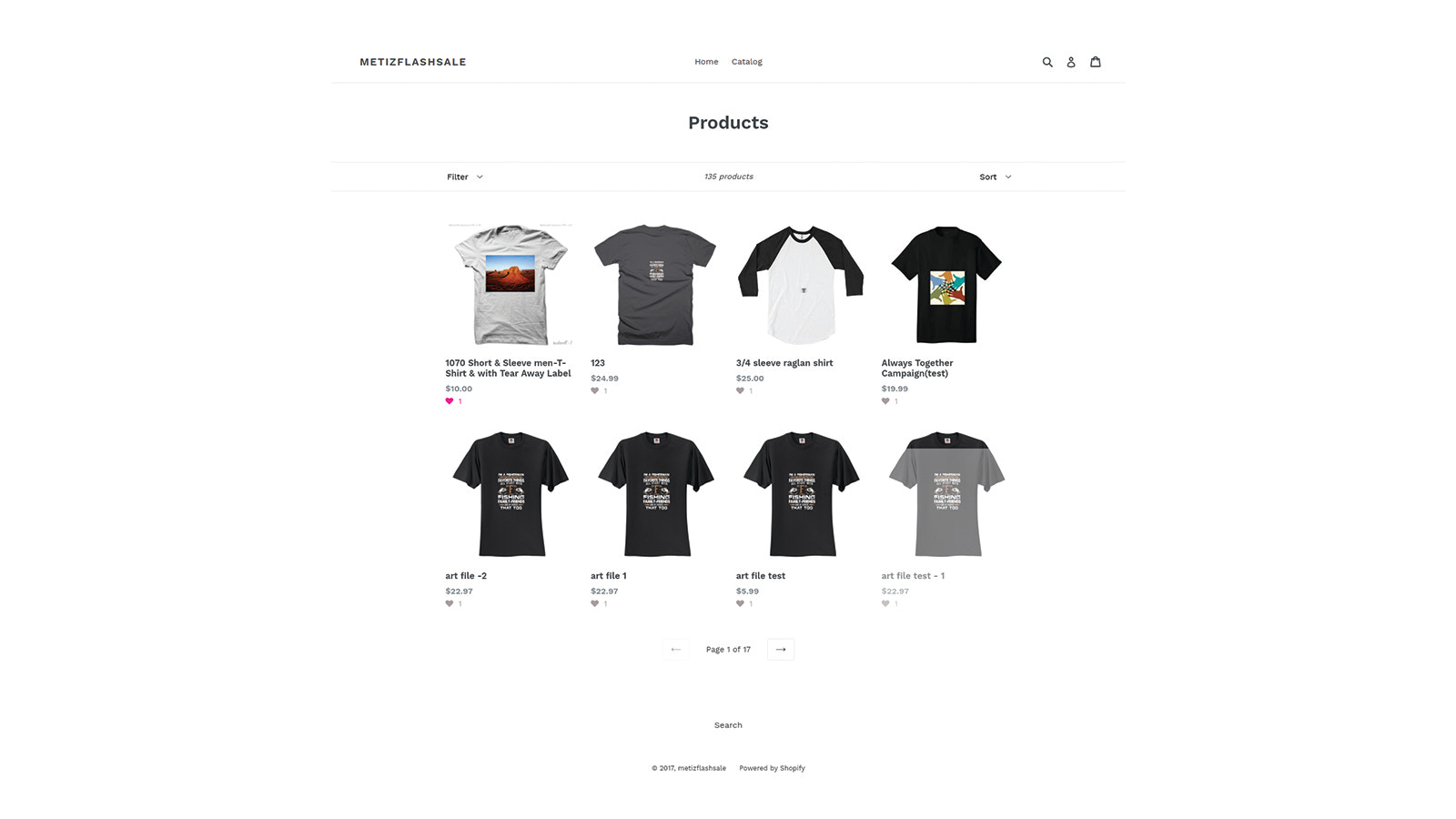 Wishlist on product listing page