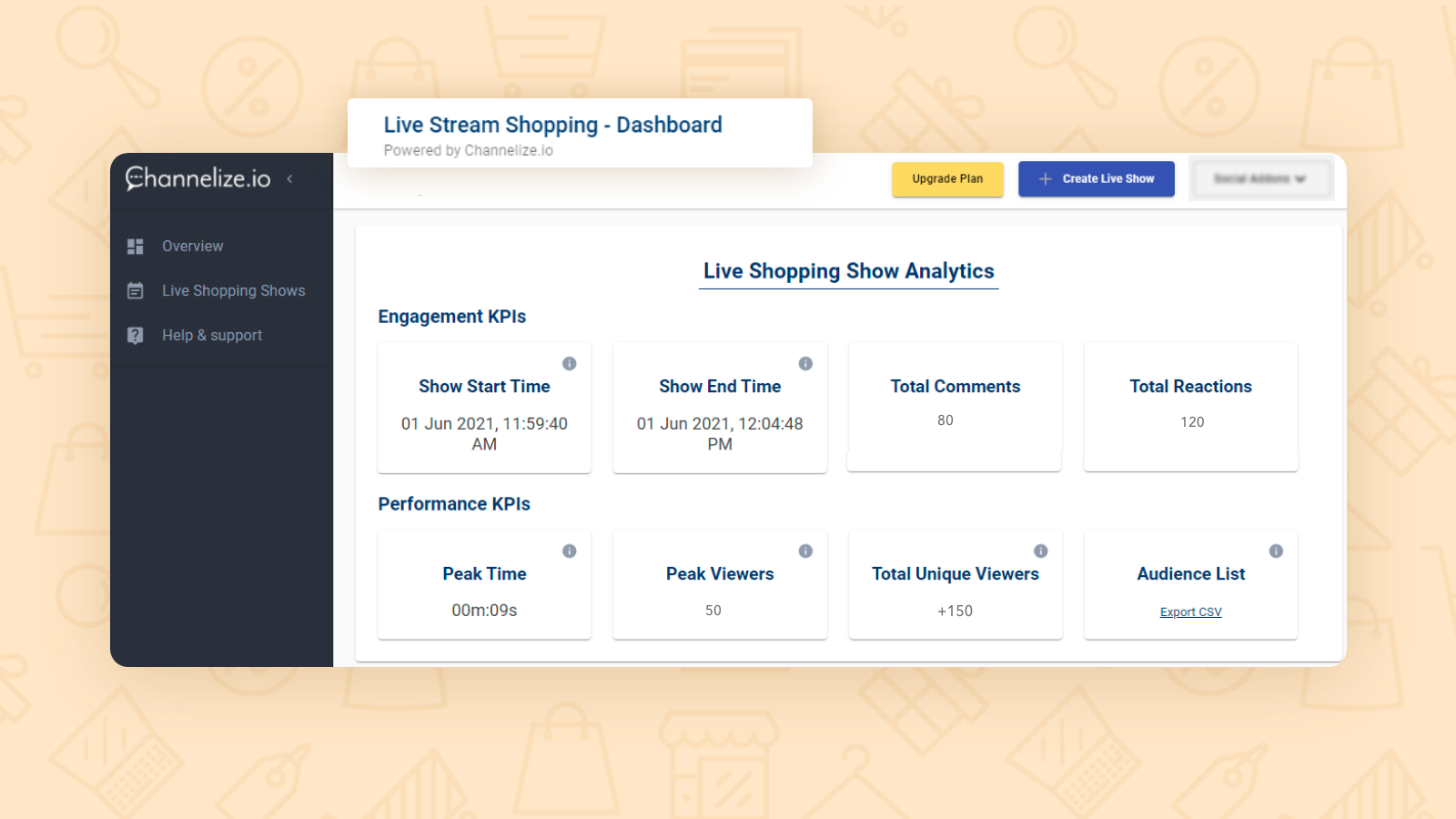 Know your audience with deep insights and post show Analytics