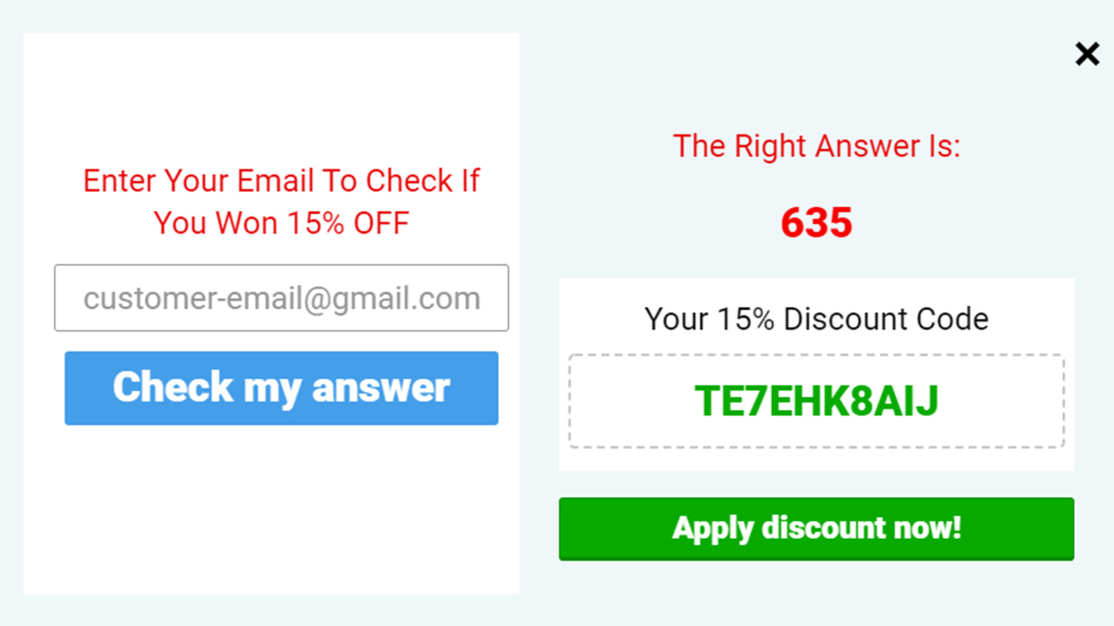 Collect customer emails and reward them with a coupon