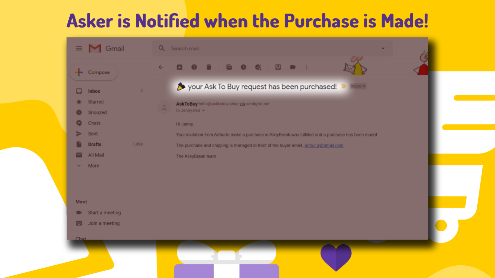 The asker is being notified when the purchase has been made