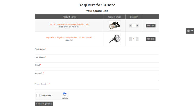 Screenshot-5 Request for quote page
