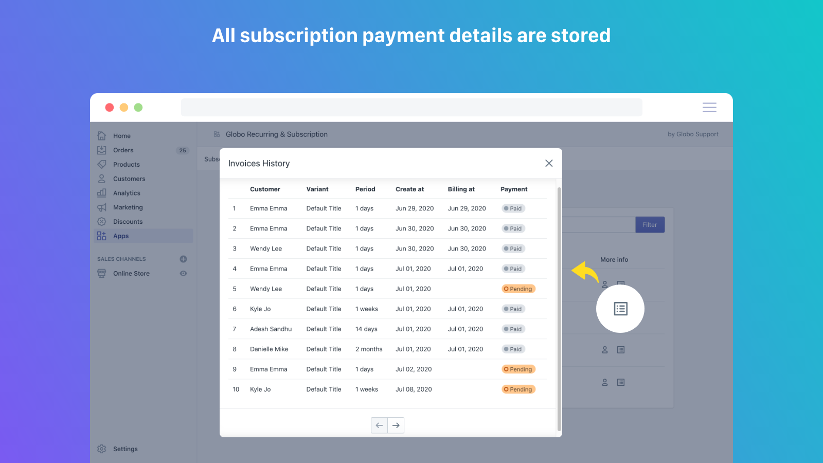 All subscription payment details are stored