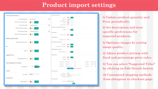 Product import settings