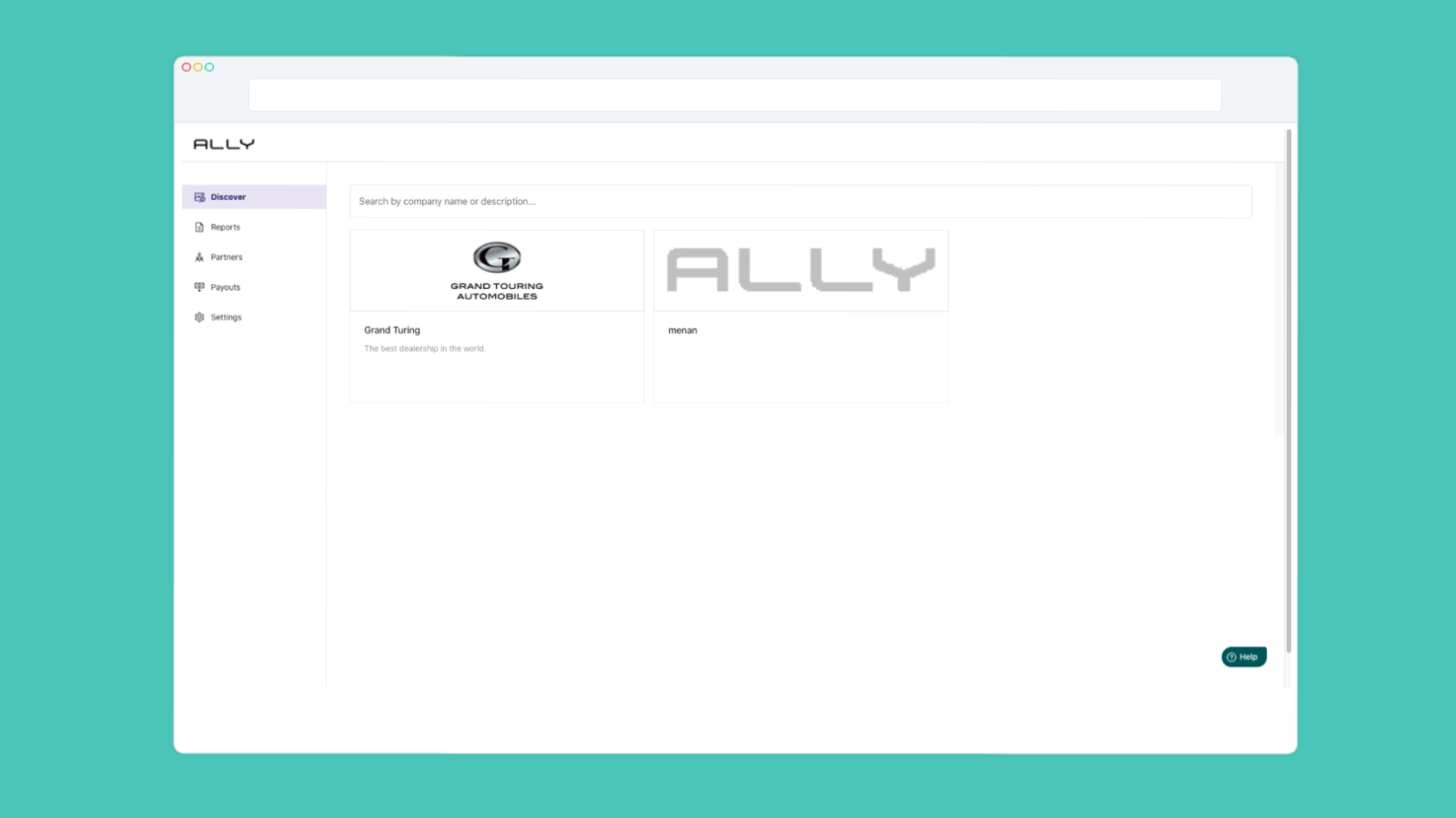 Ally dashboards discover tab. List of publishers to discover