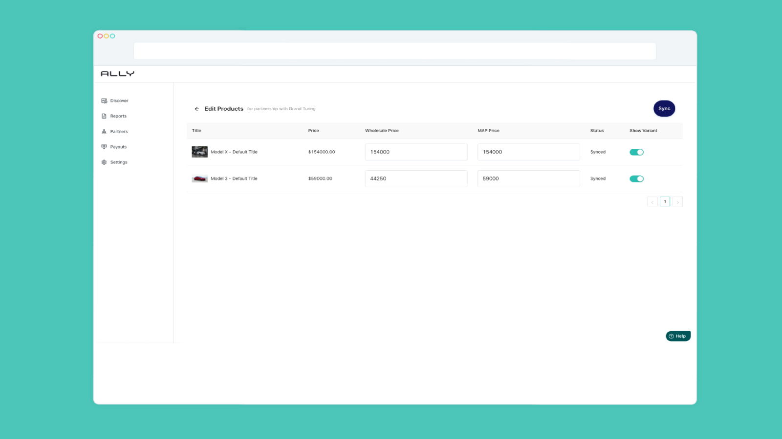 Ally dashboards manage products. List of products and controls.