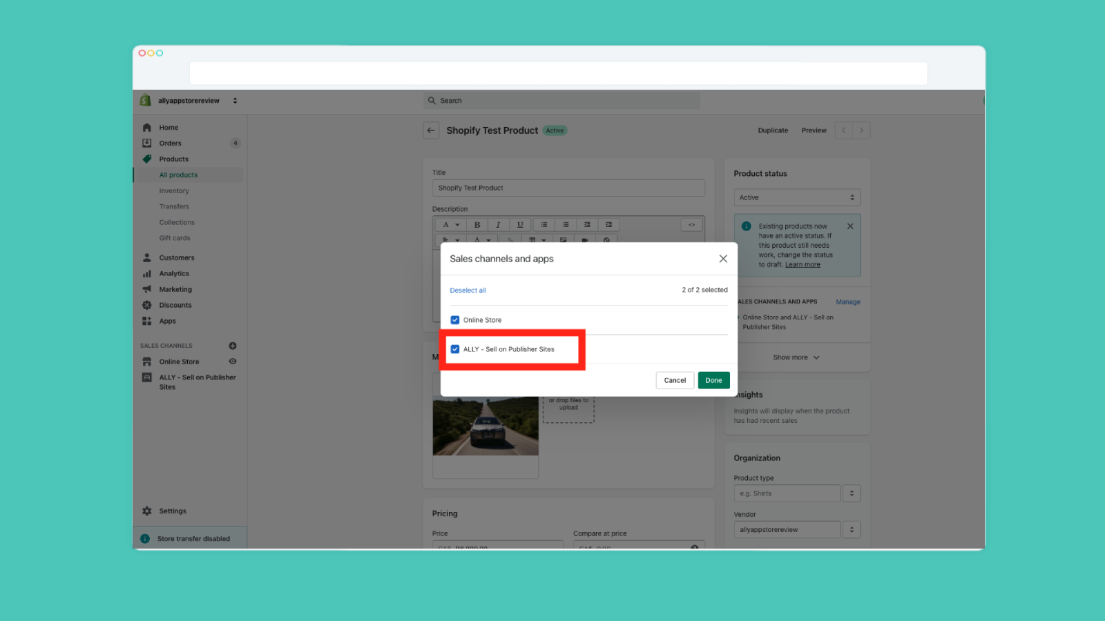 Ally sales channel toggle settings on Shopify Admin