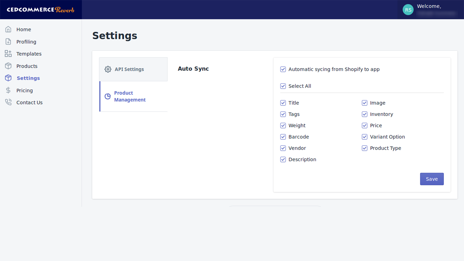 Settings section in app, Shopify Plus