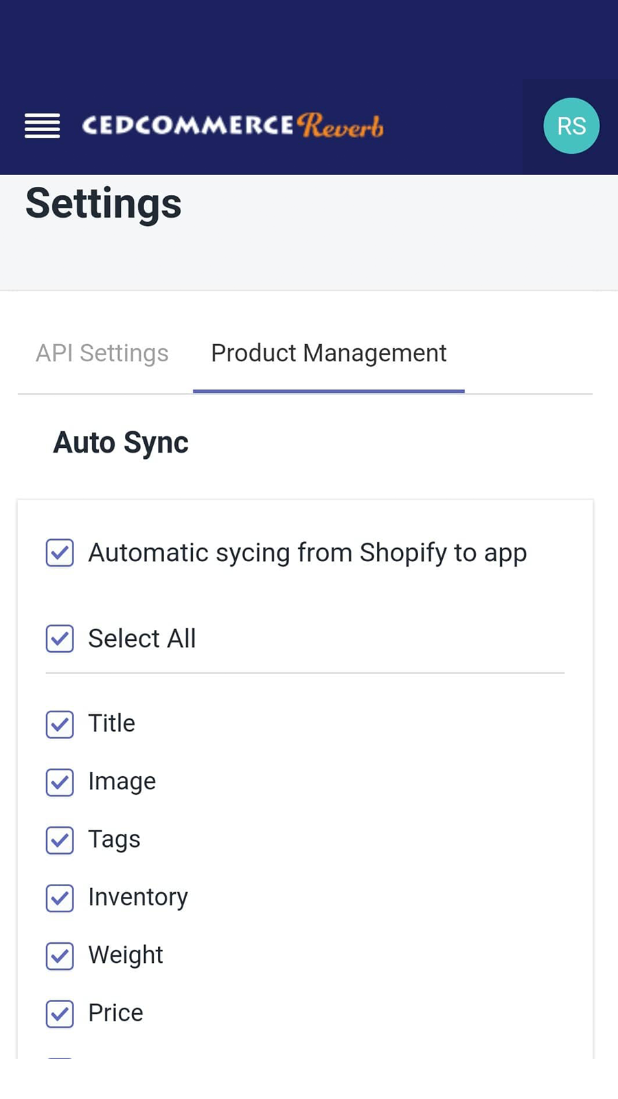 Settings section in app - Mobile View