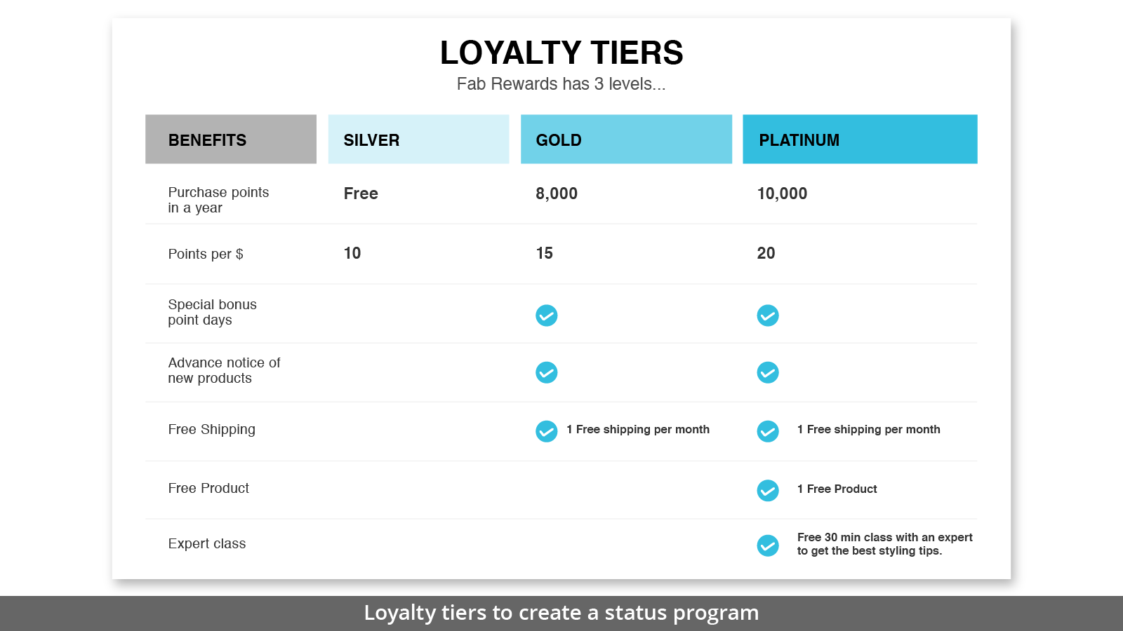 LOYALTY TIERS TO CREATE A STATUS PROGRAM