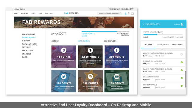 ATTRACTIVE END USER LOYALTY DASHBOARD- ON DESKTOP AND MOBILE