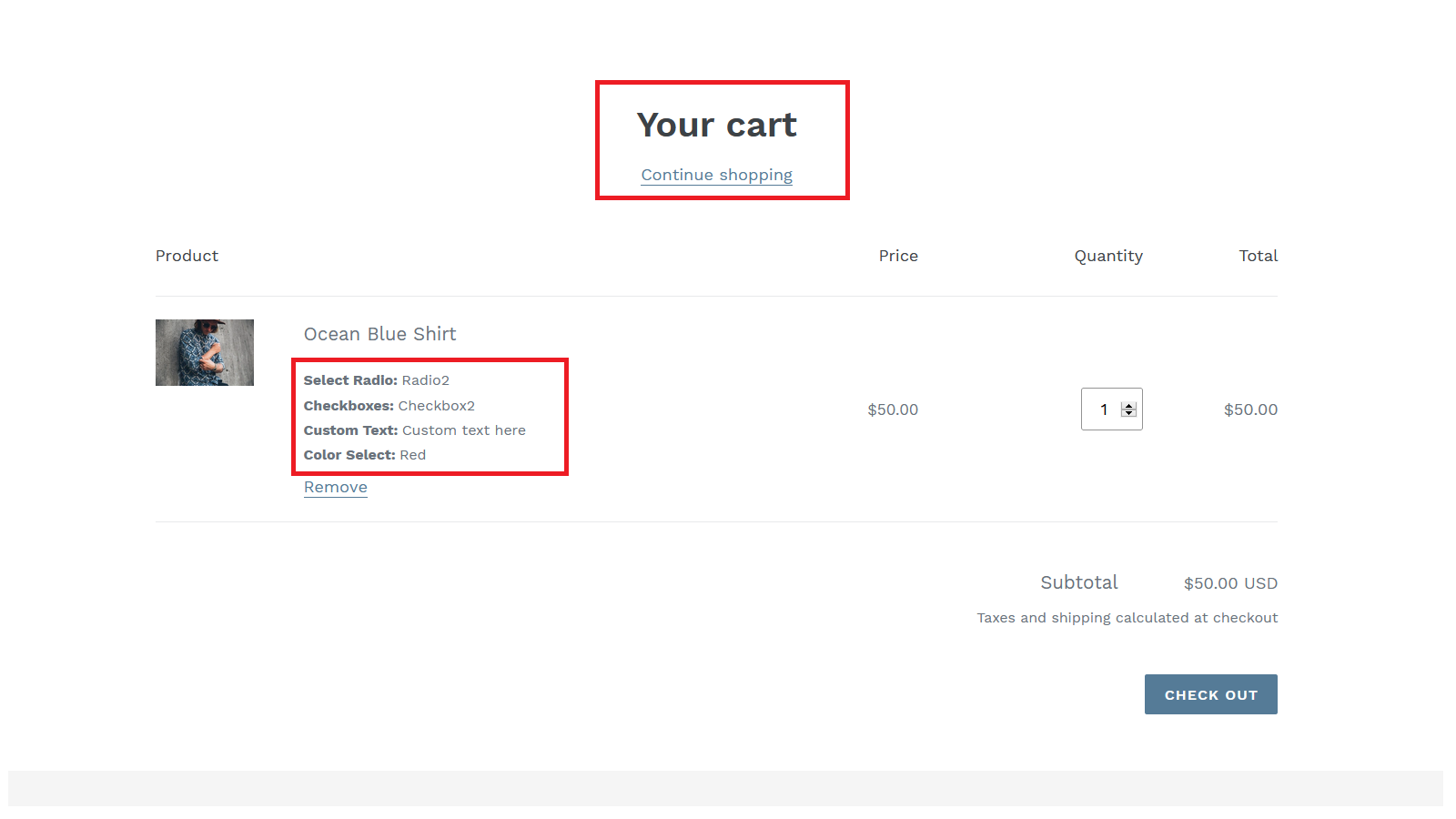 Cart page options