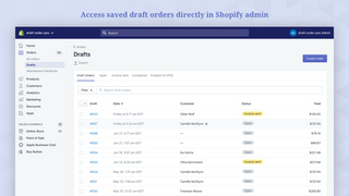 Access saved draft orders directly in Shopify admin