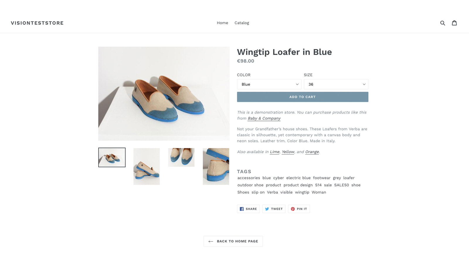 Product with generated tags