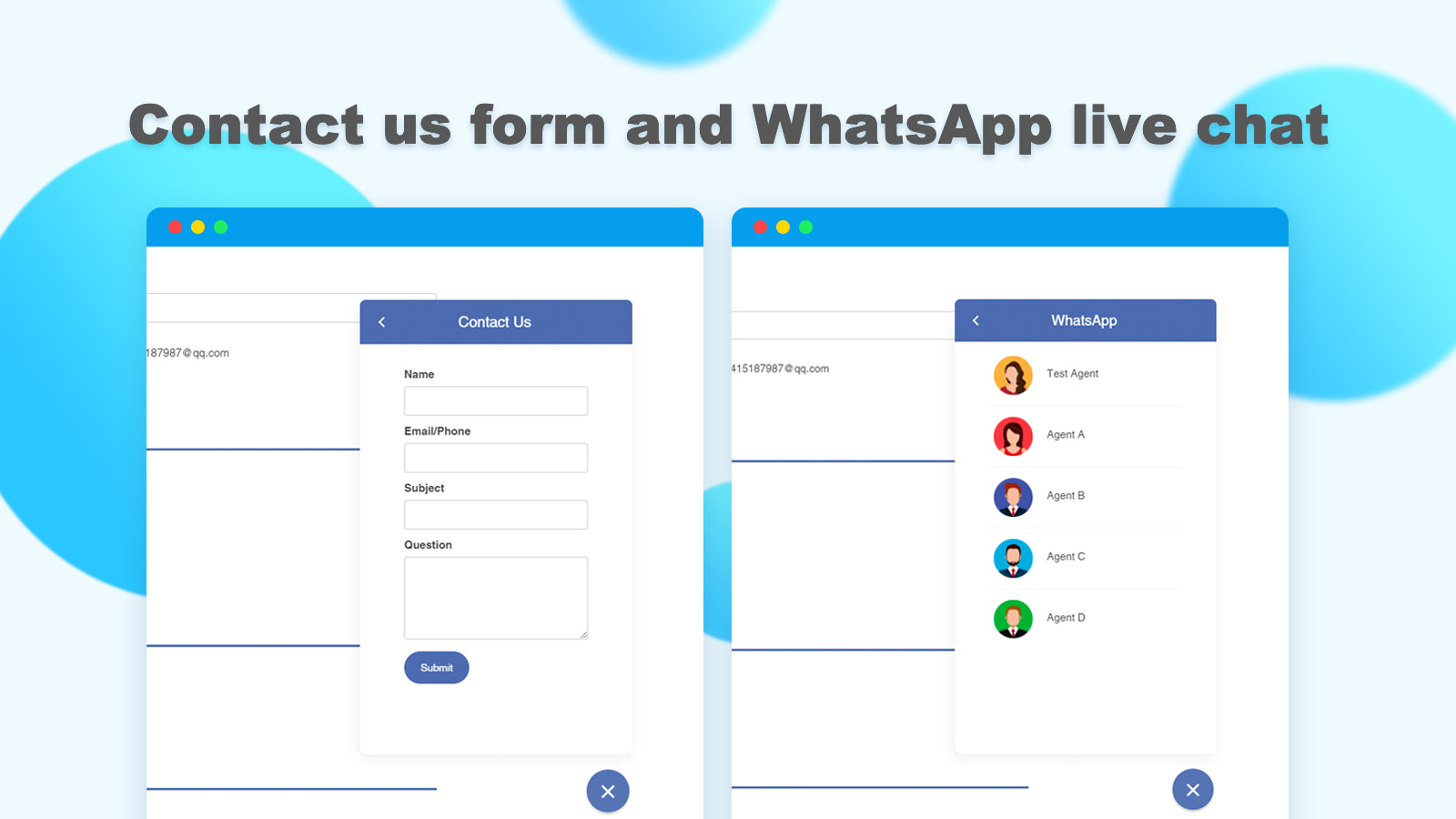 Contact us form and WhatsApp live chat