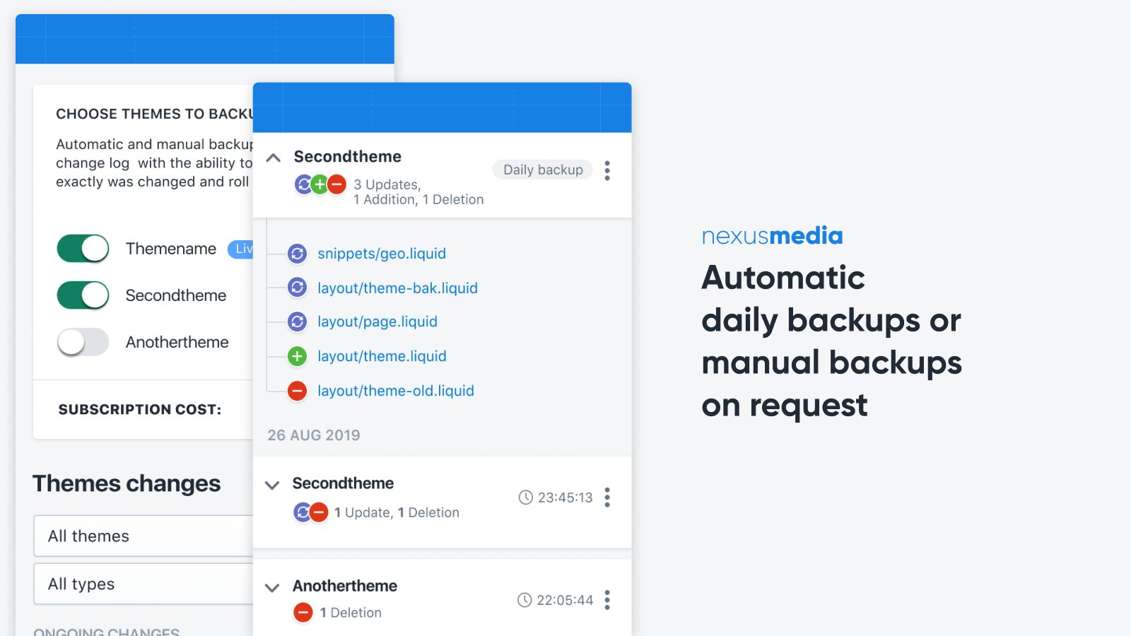 Automatic daily backups or manual backups on request