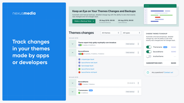 Track changes in your themes made by apps or developers, backup