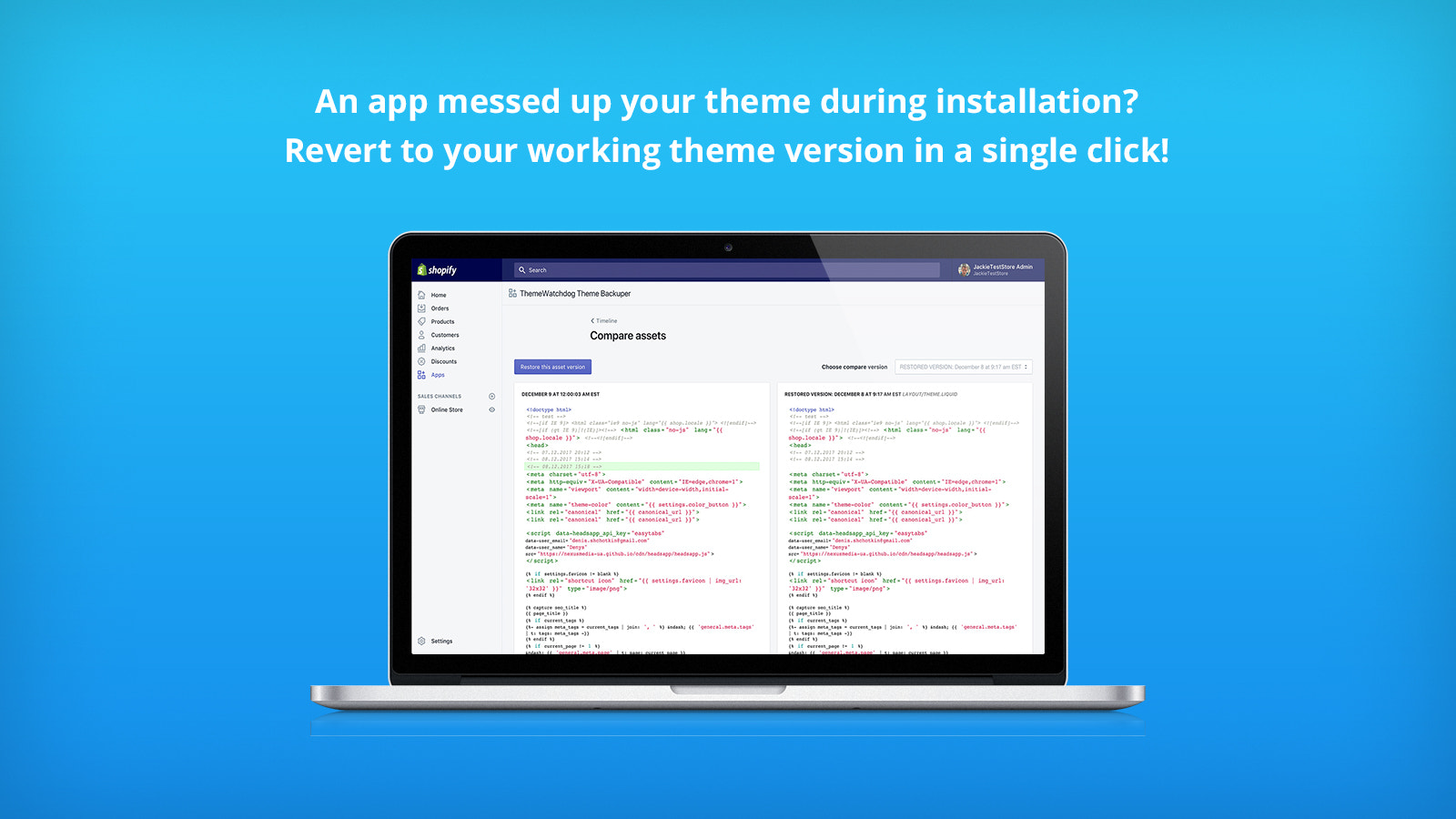 Revert to your working theme version from backup in a one click