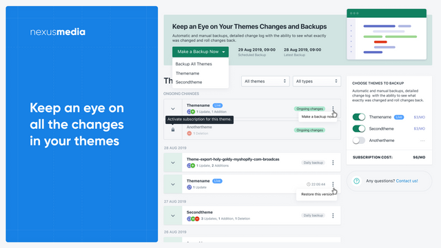 Keep an eye on all the changes in your theme, automatic backups