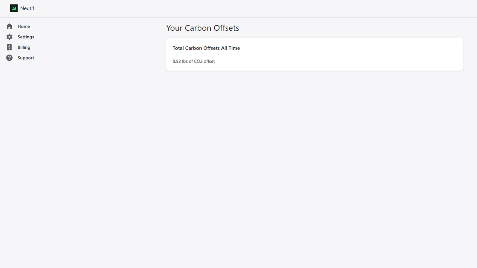 App home screen displaying total carbon offsets generated.