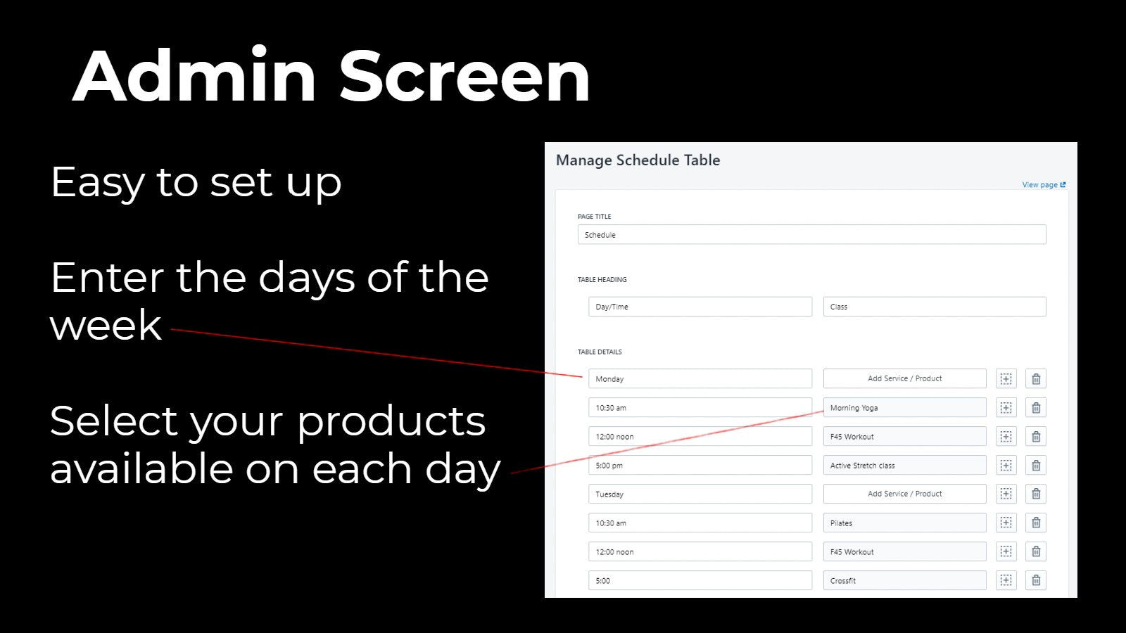 Admin screen for Shopify Schedule app