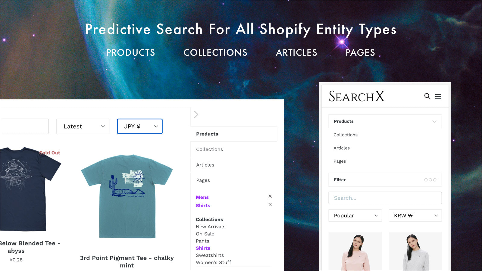 Shopify predictive search collections, articles, pages