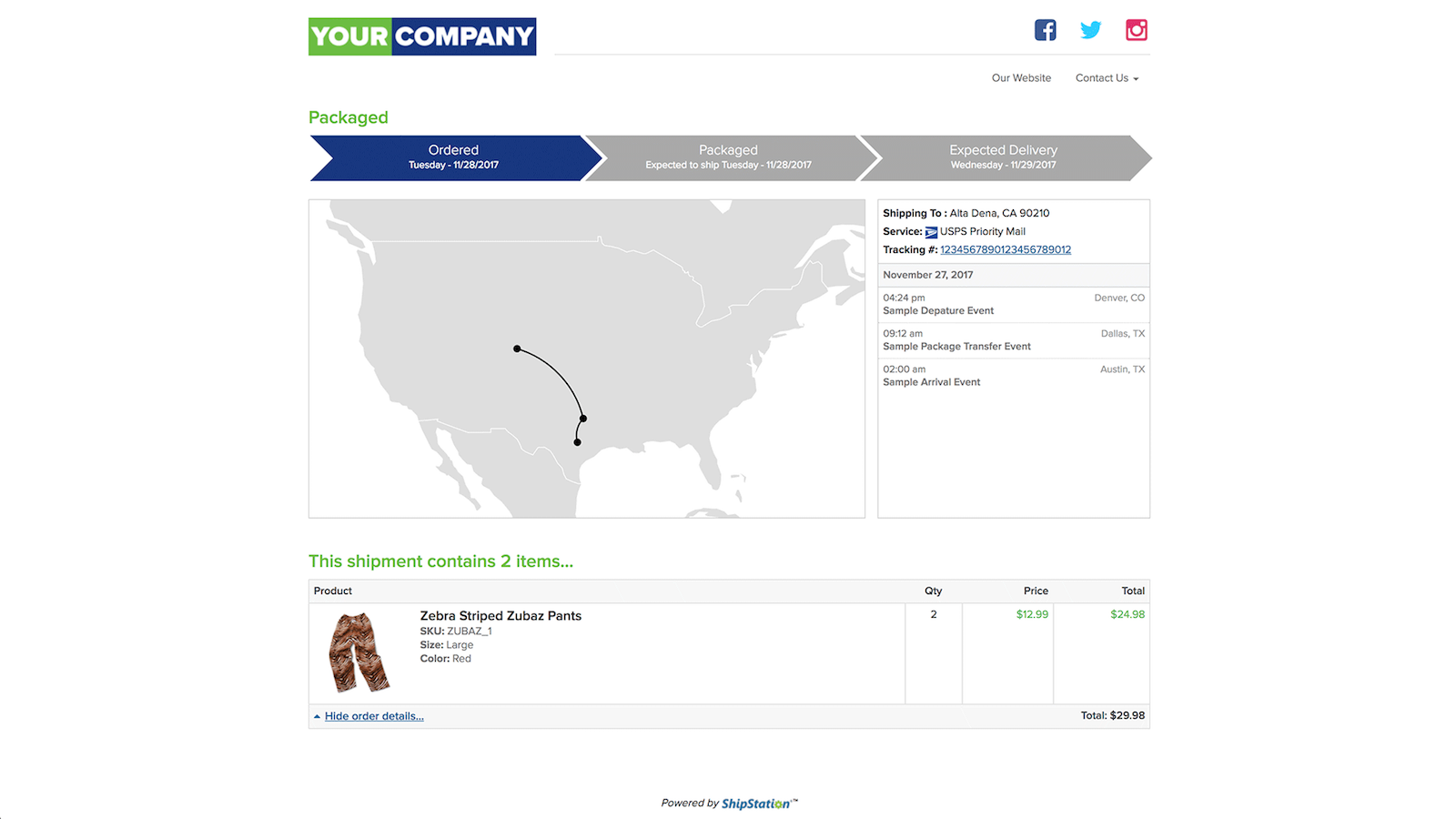 Brand your post-purchase experience with your own tracking page