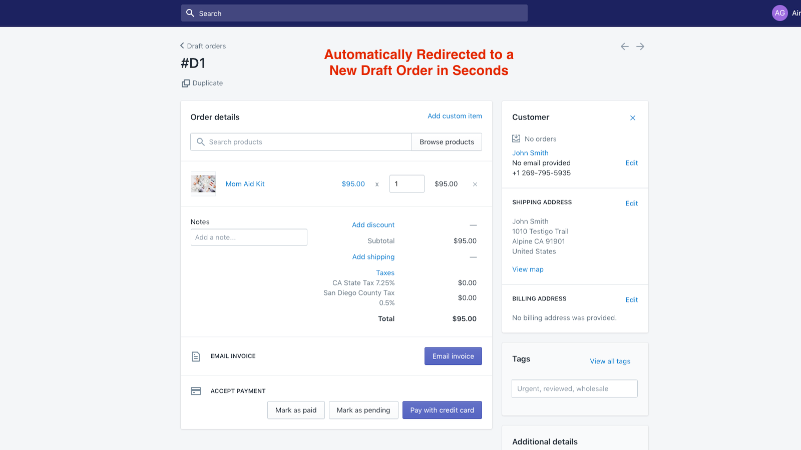 Create a Draft Order in Seconds from an Abandoned Checkout!