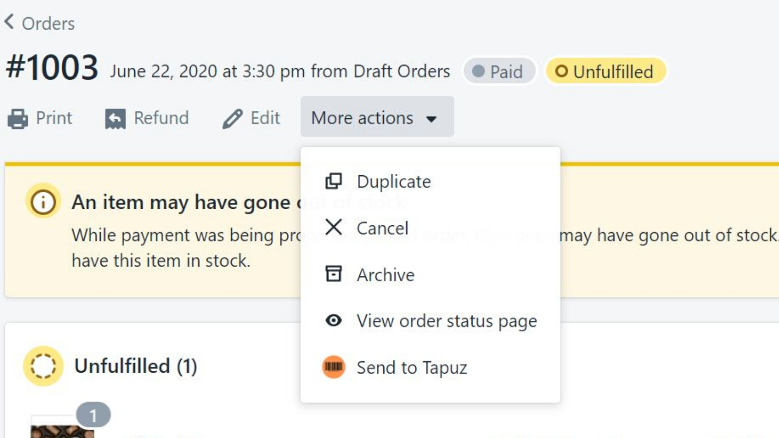 Create Tapuz shipment from Shopify order