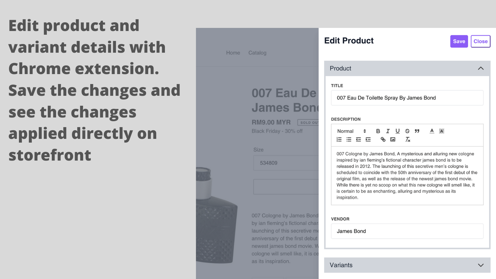 Edit products with Chrome extension