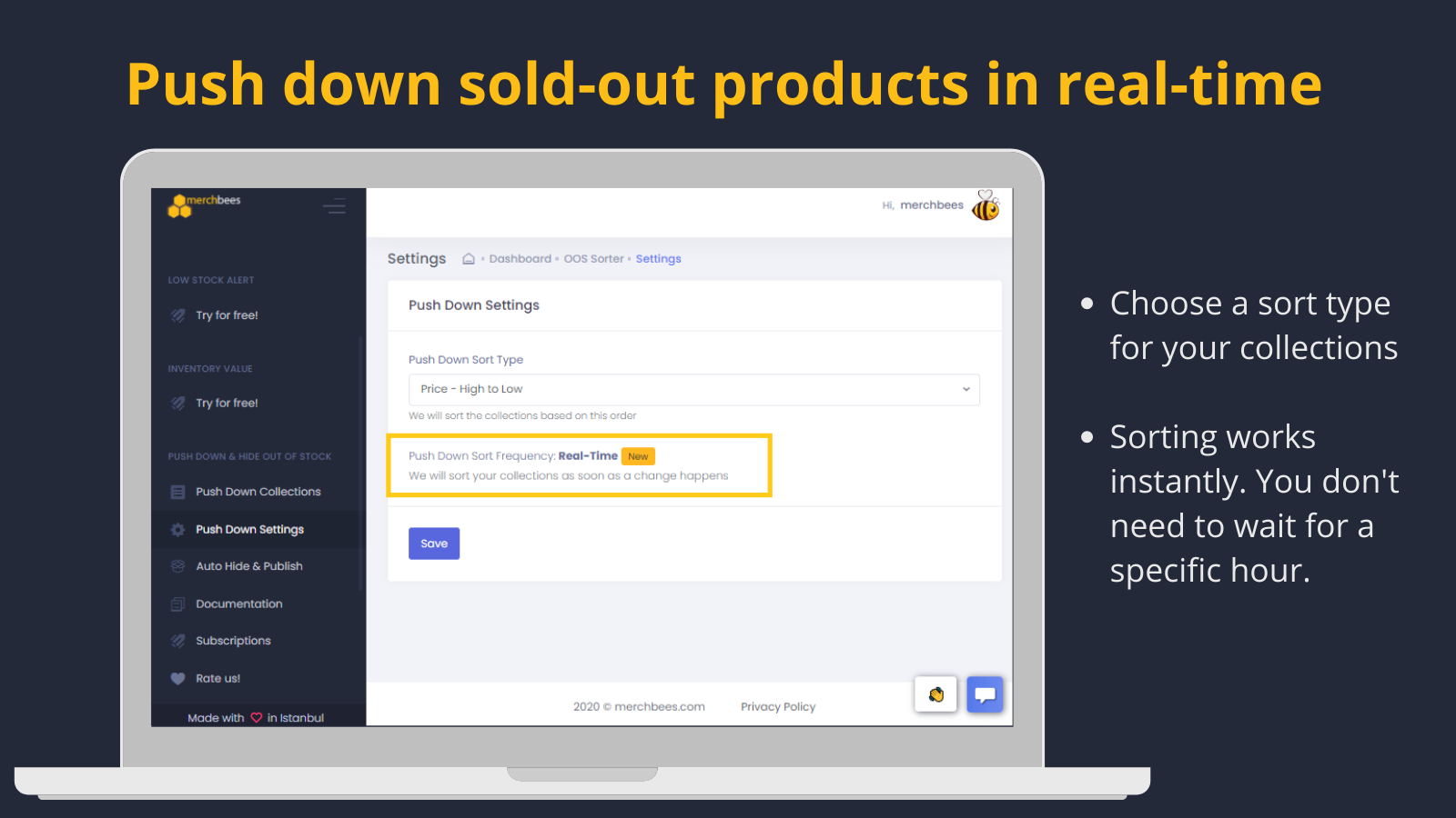 Push down out of stock produtcs instantly