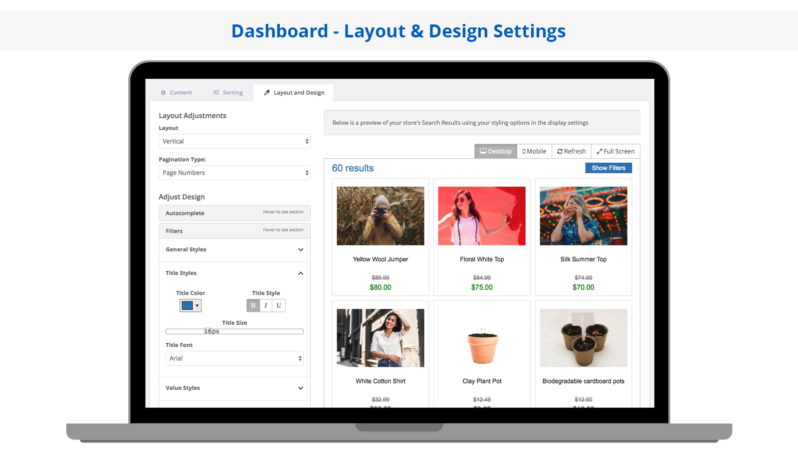 Search Magic Layout and Design Settings