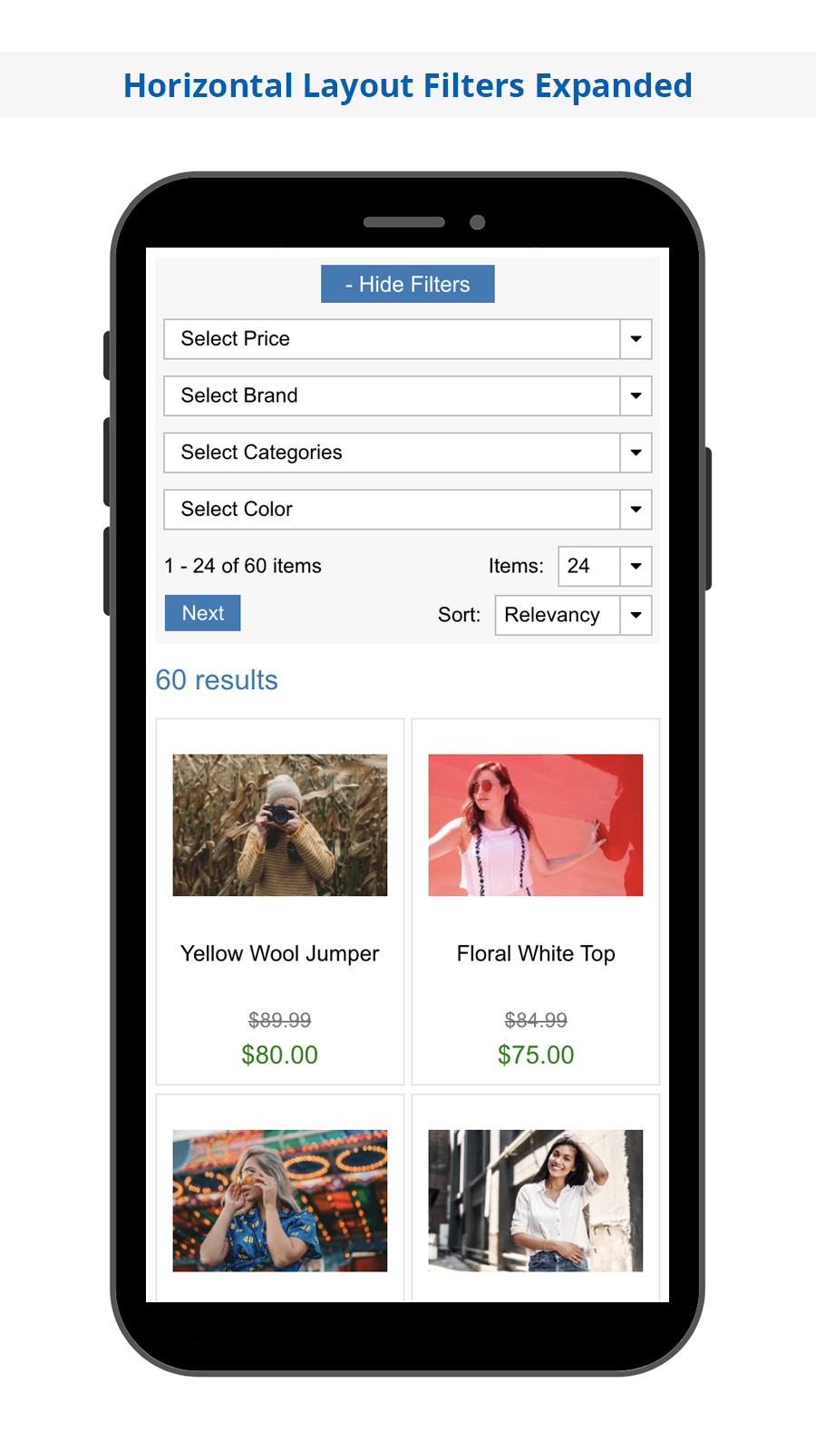 Search Magic Mobile Horizontal Filters