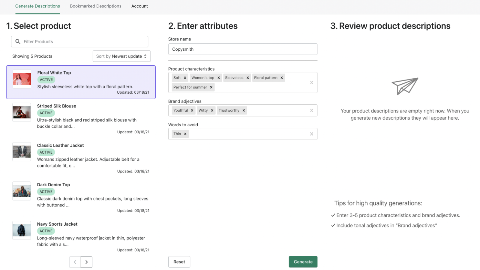 Select product on right, enter keywords, and click generate.