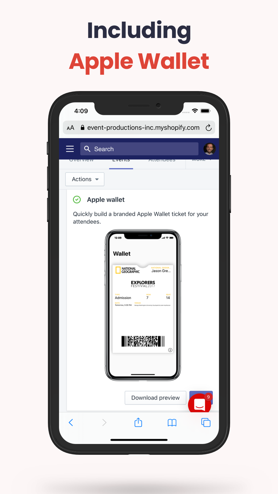 shopify event ticket apple wallet