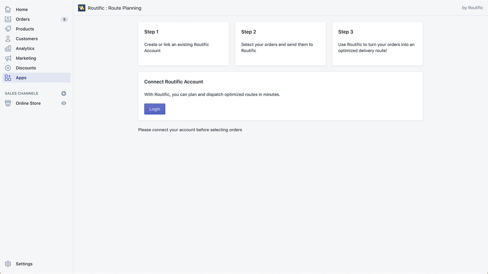 Connect your Shopify store to Routific