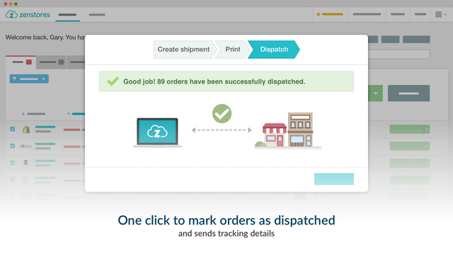 Zenstores marks orders as dispatched and sends tracking