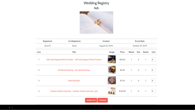View your registry items in one table