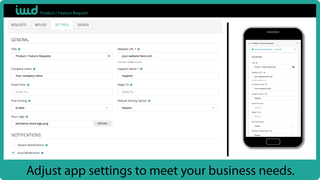 Adjust app setting to meet your business needs.