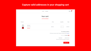 Capture valid addresses in shopping cart