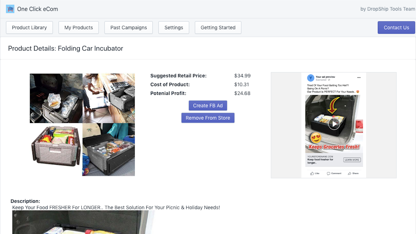 Detailed Product Listings are store and advertising ready
