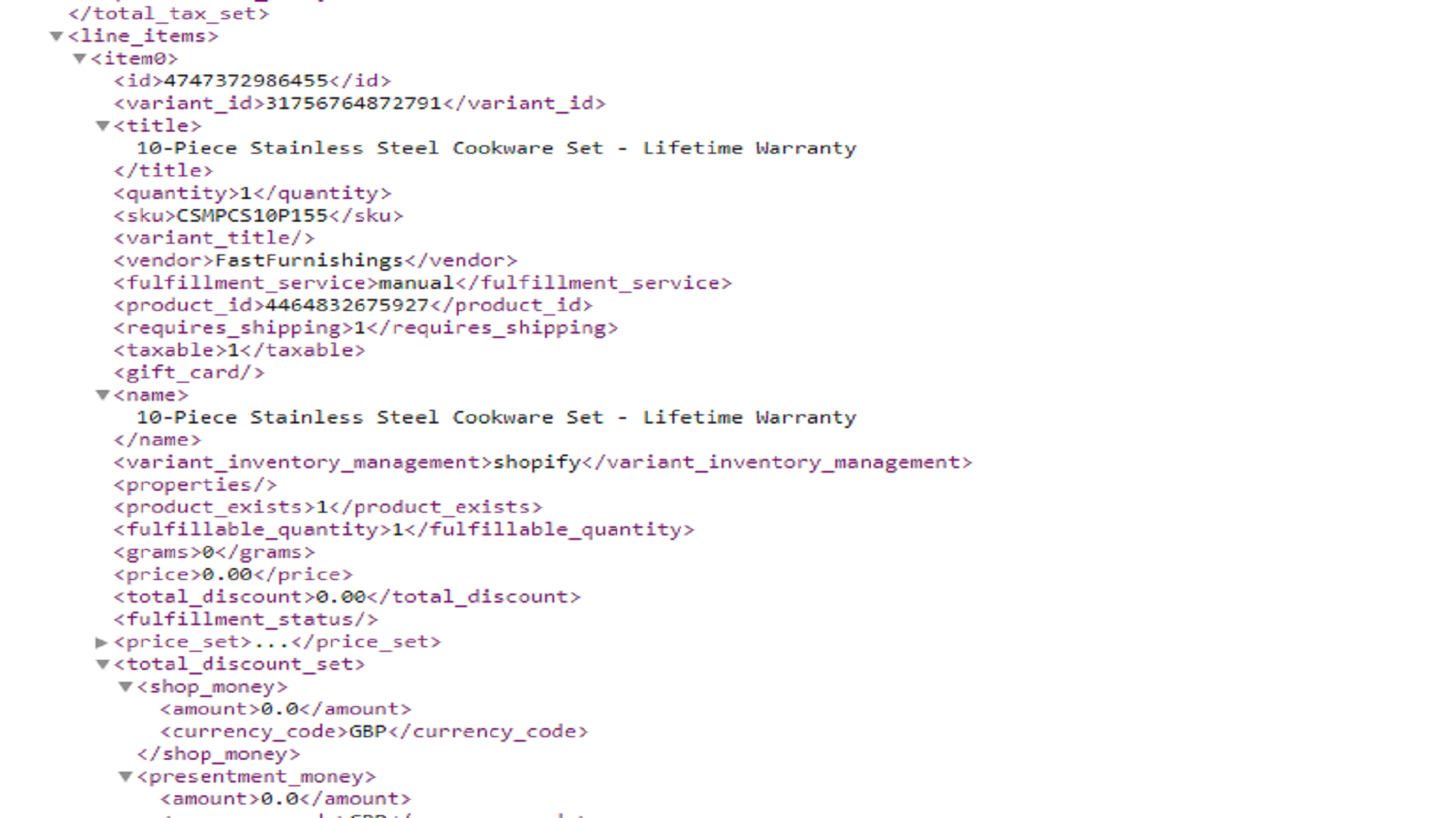 Order products xml feed