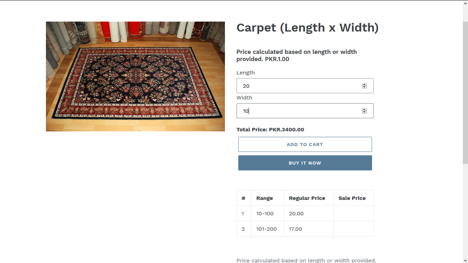 Adds Pricing Calculator to Product Pages