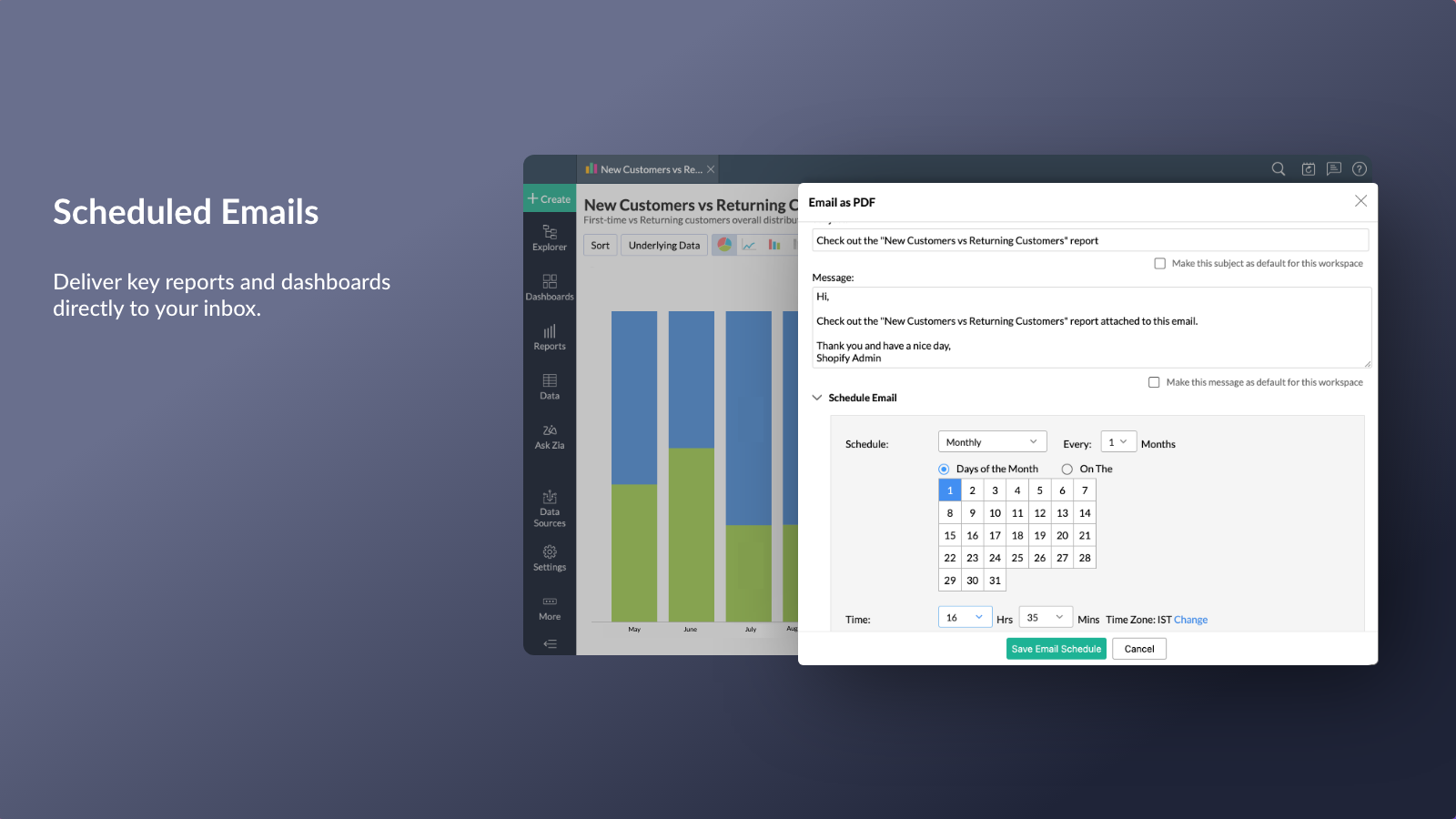 Schedule emails reports dashboards updates weekly monthly