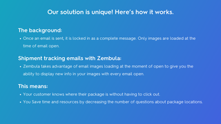 How Zembula works: Images load at every email open.