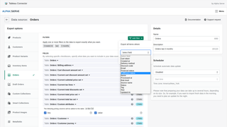 Edit Data Source: shopify orders filters export to tableau