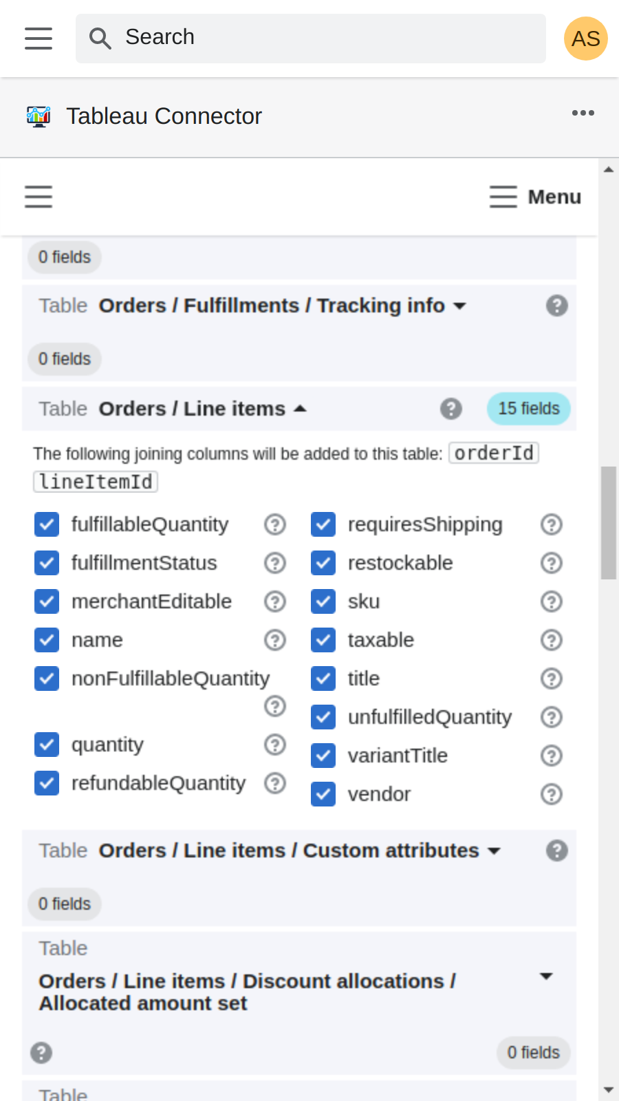 Edit Data Source: export shopify orders to tableau