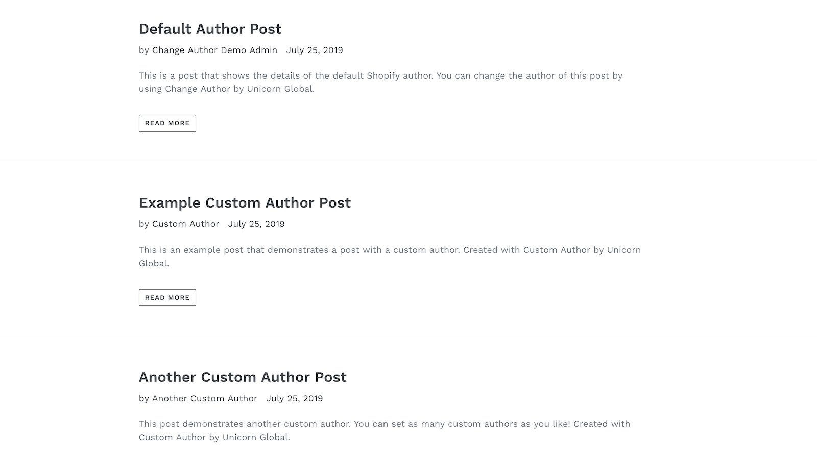 Custom authors show on your Shopify blog