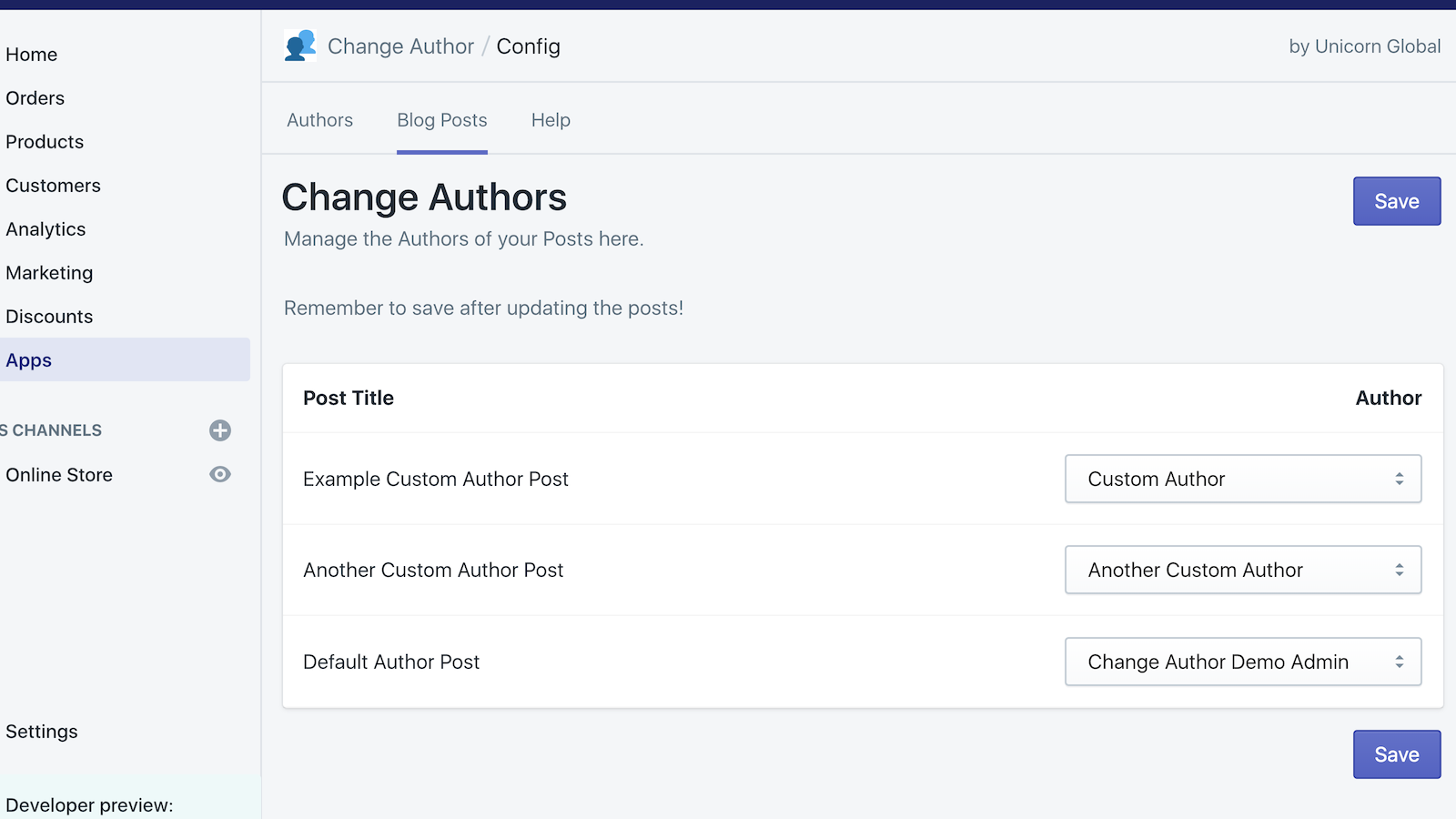 Change the author for any blog post