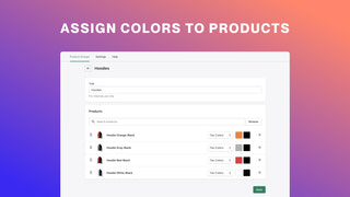 Assign colors to products